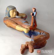 Пологова Аделаида. Автопортрет (Скульптор и скульптура). 1977