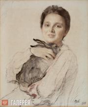 Serov Valentin. Portrait of Cleopatra Obninskaya with a Rabbit. 1904