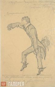 Serov Valentin. Ivan Troyanovsky. Caricature. 1903-1904