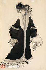 Léon BAKST. Sketch of a costume for Lyubov Bakst. 1903
