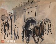 Mavrina Tatyana. Moscow Landscape with Open Carriage. 1922-1925
