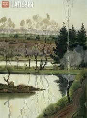 Shmarinov Alexei. Green Evening on the River. 1975