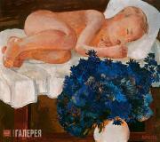 Спящий ребенок с васильками. 1932