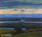 Ivanov Viktor. Sunset over the River Oka
