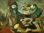 Jüchser Hans. Large Still-Life with Bottle, Fruit Bowl and Lemon. 1968