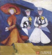 Three Female Figures (A. Exter and her Dog, N. Davydova and  E. Prybylskaya)