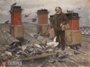 Владимиров Иван. На крыше. А.И. Куинджи кормит голубей. 1910