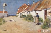 E.A.WALTON. Seaside Cottages with Dovecote. c.1883