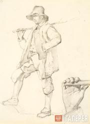 Shepherd in Manstruca with a Staff. A Hand holding A Stick. Late 1820s