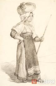 Italian Woman Carrying a Bundle on Her Head (Italian Woman from Olevano). Late 1