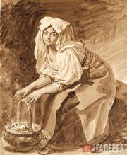Italian Woman Warming Her Hands Over Hot Coal. Late 1820s