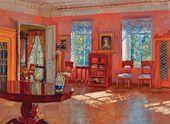 Stanislav ZHUKOVSKY. Interior of the Library in the Landlord's House. 1916 (?)