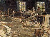 Nikolai Fechin. In the Cooperage. 1914