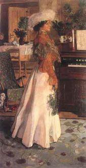Jozef MEHOFFER. Wife's Portrait (In a Summer Dwelling). 1904