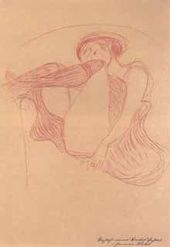 """A Nude Sitting on an Armchair with Legs Crossed. A study for """"Danae"""". 1903"""