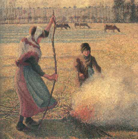Camille PISSARRO. A Young Peasant Woman Lighting a Fire on a Frosty Day. 1887–1888