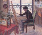 Lucien PISSARRO. Portrait of George Pissarro in the Studio of Camille Pissarro. 1887