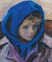 Arkady PLASTOV. Girl in Blue Kerchief. 1963. Detail