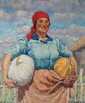 Collective Farm Woman with Pumpkins. 1930