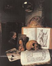 Attributed to Simon Luttichuys. Still Life with a Skull. c. 1635–1640