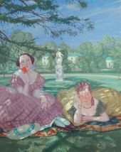 Konstantin SOMOV. Two Ladies in the Park. 1919. Detail