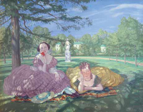 Konstantin SOMOV. Two Ladies in the Park. 1919
