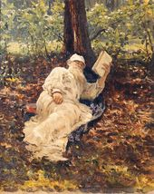 Ilya REPIN. Lev Nikolayevich Tolstoy Relaxing Amidst the Beauty of the Forest. 1891