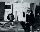 Andy Warhol working in the Factory, c. 1964