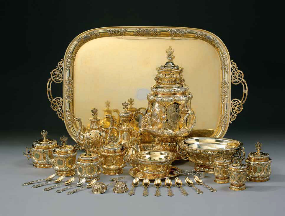 Grand Duke Constantin Nicholaevich: A Highly Important and Rare Russian Gilded Silver Extensive Tea and Coffee Service, Sazikov, Moscow, 1848