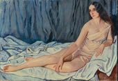 Lot 70. Zinaida Evgenievna SEREBRIAKOVA (Russian, 1884-1967). Portrait of Vera Fokine. Signed in Cyrillic (lower right)