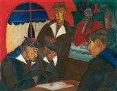 Lot 75. Boris Dmitrievich GRIGORIEV (Russian, 1886-1939). Sailors at a Cafe', Boui Bouis. Signed and dated Boris Grigoriev/22 (lower right)