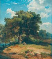 Landscape with Oak Trees and Shepherd. 1860
