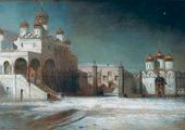 Sobornaya square in the Moscow Kremlin at night. 1878