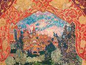 "Alexander GOLOVIN. Sketch of decorations for A. Koreshenko's ballet ""The Magic Mirror'. 1903"