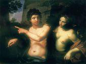 Michele DESUBLEO (called Flammingo). Medor and Angelica. 1640s