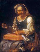 Eberhard KEIL (called Monsu Bernardo). An Old Woman with Needlework. 1650s