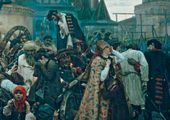 "Central part of the painting: the ""Strelets"" saying his farewell to the people. Wife of the ""Strelets"" taken to the Execution Block."