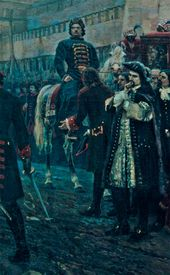 Right side of the painting: Peter the Great and his party. Detail