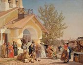 Alexander MOROZOV. People Coming Out of Church in Pskov. 1864