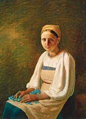 Alexei VENETSIANOV. A Peasant Girl with Cornflowers. 1820s