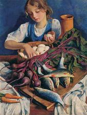 Zinaida SEREBRYAKOVA. In the Kitchen. Portrait of Katya. 1924