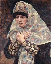 Vasily SURIKOV. A Boyard's Young Daughter with Her Hands Crossed on Her Chest. 1884–1887