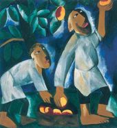 Natalia GONCHAROVA. Peasants picking apples. 1911
