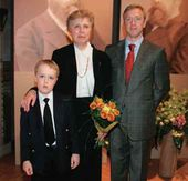 "Pavel Tretyakov's great-great-granddaughter Yekaterina Khokhlova with her son and grandson at the exhibition ""The Brothers Pavel and Sergei Tretyakov. Life and Work"". 23 May 2006"
