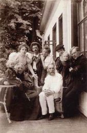 Vera Nikolayevna and Pavel Mikhailovich Tretyakov among their family. Kurakino. 1898