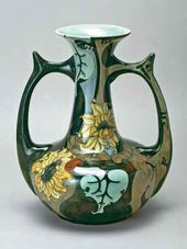 Art nouveau vase with handles and flower decoration. The Netherlands. Early 20th century