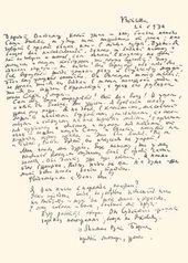 The letter of Boris Grigoriev addressed to Vladimir Bashkirov