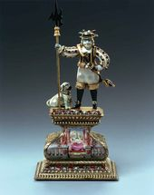 Unknown artist. Pearl figurine: Battle-axe Holder with Dog. Frankfurt-on-the-Main (?), before 1706
