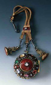 Карманные часы с цепочкой и печатками из карнеолового гарнитура. Ювелирная работа: мастерская Иоганна Мельхиора Динглингера. Дрезден. 1719