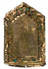 Drobnitsa (small golden or silver plate for decorating icons) 'The Saviour of Smolensk.' Russia. 19th century